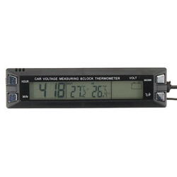 Display Digital Clock Voltage Battery Car Thermometer Temperature Monitor Alarm