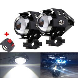 Light With 2Pcs Spot Hi Lo Black Motorcycle LED Headlight Driving Fog U5 Kill Switch