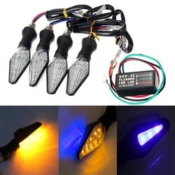 Turn Signal Indicator Lamp Light Motorcycle Amber 4pcs Blue Flasher Relay