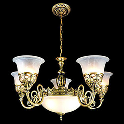 European Chandeliers Seven Bronze Glass Lights Retro