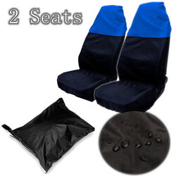 Resistant Water Blue Car Front Seat Protectors Covers Universal Black