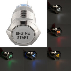 Engine Start Push Button Switch Led Auto Metal 12V 19mm Waterproof Car Momentary