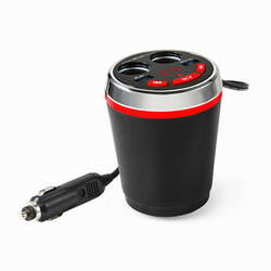 Cup Call Car Cigarette Lighter Dual USB Holder Adapter Bluetooth Wireless Handfree FM