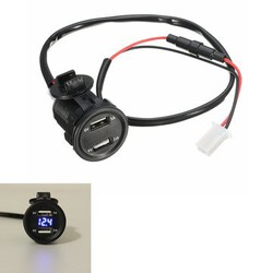 2.1A 1A Voltage Voltmeter 12V Car Motorcycle Dual USB Charger Socket LED Light