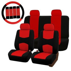 Red Black Full Protector Pad Belt Steel Ring Wheel Cover Universal Car Seat Covers