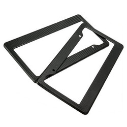 Universal Black Front Rear Frames Painted Tag 2Pcs License Plate Style